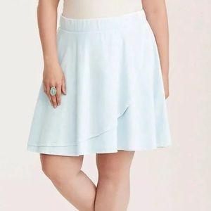 Torrid light wash chambray wrap skirt